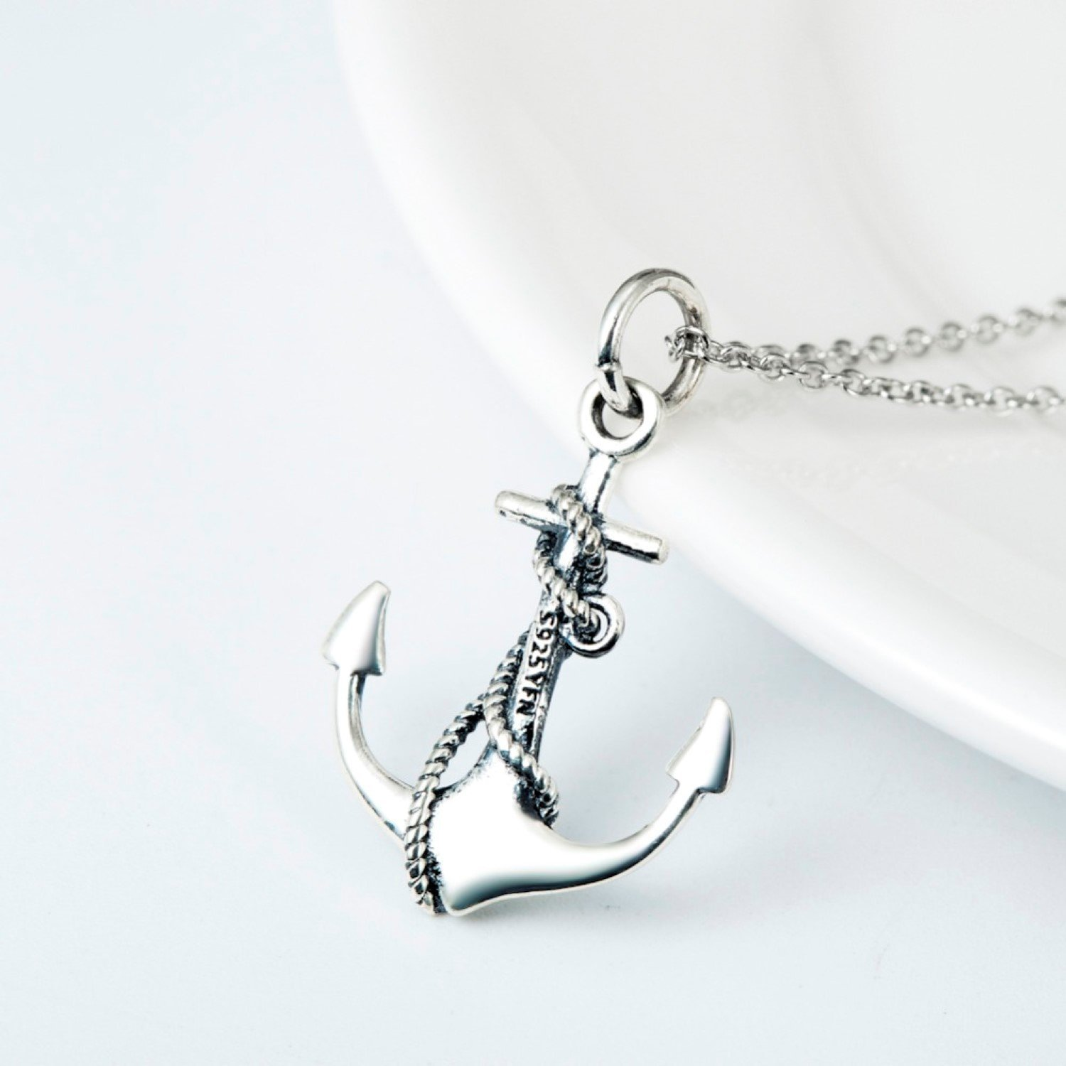 CS-DB Anchor Classic Anchor Silver Color Pendants Silver Necklaces