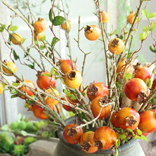 Vovomay Fake Artificial Rose Fruit Flowers Plants Pomegranate Berries Bouquet Floral Garden Home Decor (Orange)