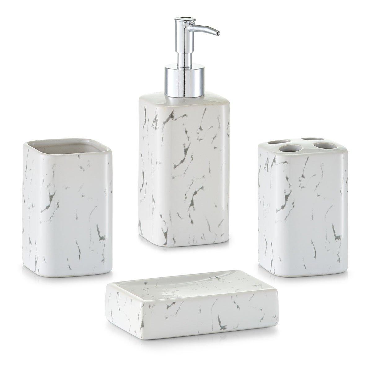 Zeller 18256Marmo accessori da bagno, ceramica, bianco, 22x 21x 7cm Zeller Present Handels