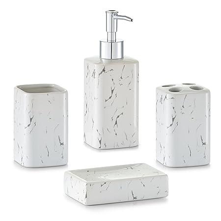 Zeller U0026quot;Marble Looku0026quot; Bathroom Accessories Set, White ...