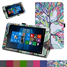 "iRULU Walknbook 3Mini Case,Mama Mouth PU Leather Folio 2-folding Stand Cover for 8"" iRULU Walknbook 3Mini / 8 Inch Windows 10 Tablet,Love Tree"
