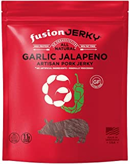 product image for Fusion Jerky Garlic Jalapeno Pork Artisan Jerky, 2.75 oz Snack Pack – Gluten Free. No Nitrates. No Added MSG. No Preservatives.