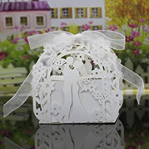 N/L Bride and Groom Gift Box Wedding Favors and Gifts Candy Box Wedding Gift Box Wedding Favor Box For Candy 50pcs 100pcs White