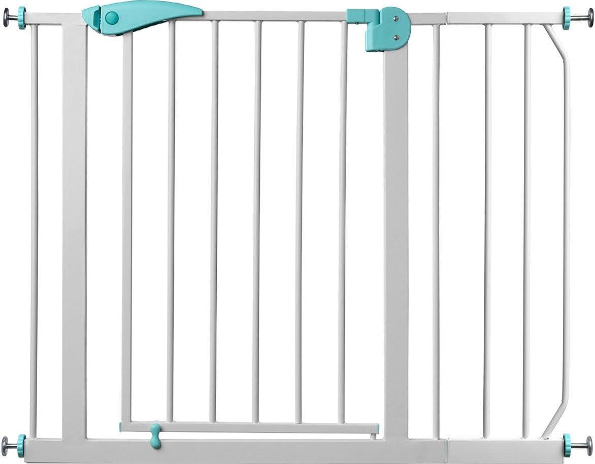 IB-Style Blanc-Turquoise Barri/ère de s/écurit/é des escaliers et des portes Berrin |le meilleur rapport qualit/é-prix 75-175 cm Auto-Close| 95-105 cm