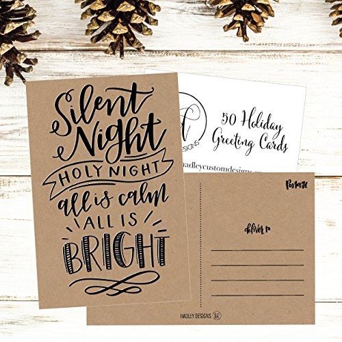 50 Kraft Holiday Greeting Cards, Cute Fancy Blank Winter Christmas Postcard Set, Bulk Pack of Premium Seasons Greetings Note, Happy New Years for Kids, Business Office or Church Thank You Notes Photo #5