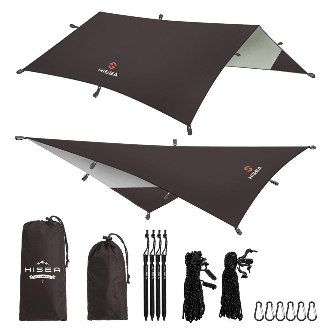 Hiseaハンモック レインフライ テント タープ シェルター 3m x 3m - 防水軽量 フライシート 日除け サンシェルター 天幕シェード 屋外キャンプ ピクニック 旅行 ビーチ ハイキング 釣り、コーヒー B073WT5CV6