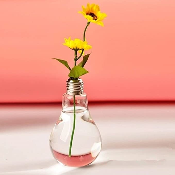 Amazon Stand Light Bulb Shape Glass Vase Flower Plant Container