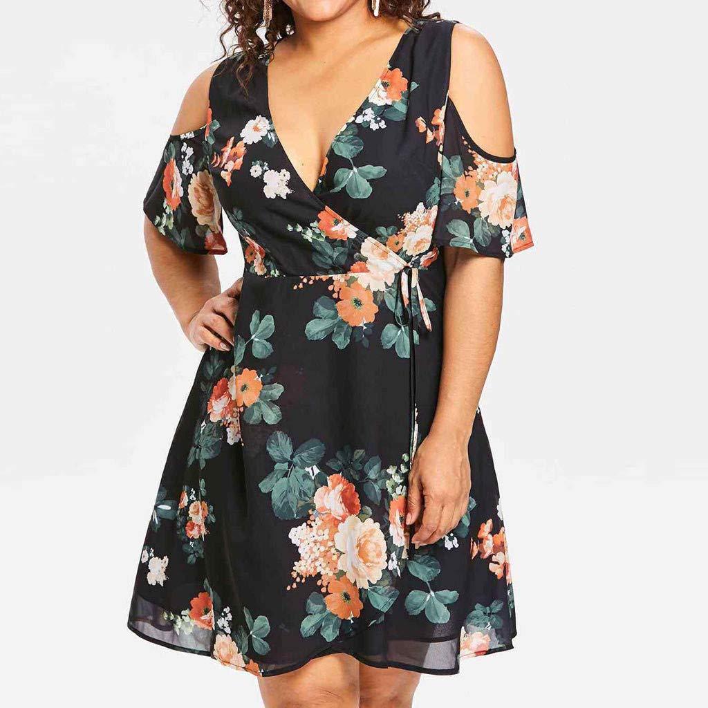 4Clovers Women Plus Size Dresses Cold Shoulder Short Sleeve V Neck Floral Loose Mini Swing Dress