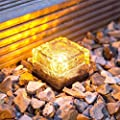 LOHOME Solar Glass Brick Lights - Pack of 6 Path LED Lights Outdoor Ice Cube Night Lamp for Garden Courtyard Pathway, IP67 Waterproof Christmas Festives Decorative Ice Rock Cube Lights