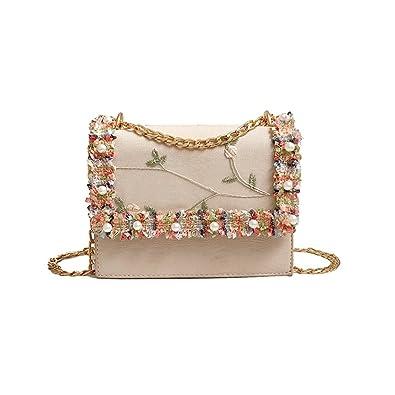 Gaddrt Fashion Women Girl Handbags Pearl Lace Crossbody Bags Tote Shoulder  Bag Beige d668672dee35