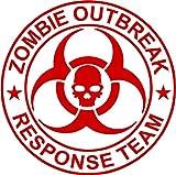 "Zombie Outbreak Response Team NEW DESIGN Die Cut Vinyl Decal Sticker 5"" Red"