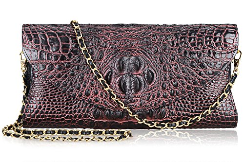 PIJUSHI Women's Genuine Leather Embossed Crocodile Evening Party Clutches Handbags Shoulder Bag (66115, Black/Red) by PIJUSHI