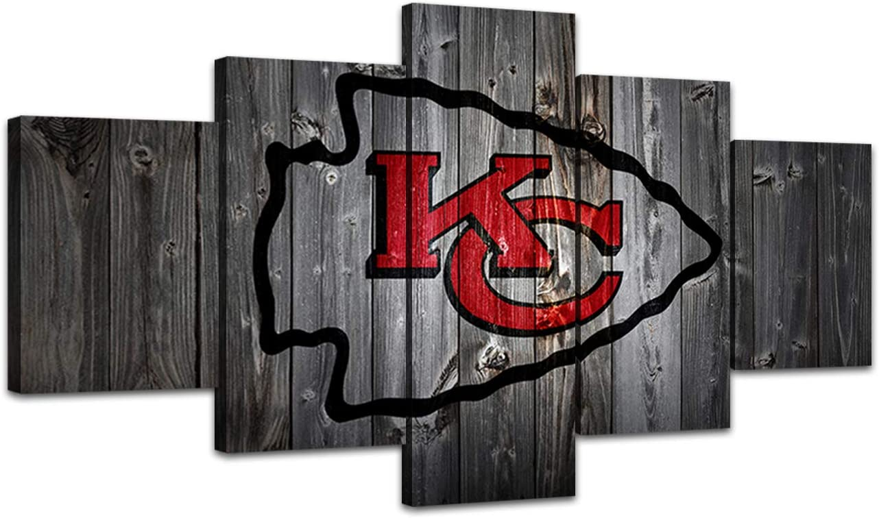 MIAUEN Canvas Prints Wall Art Kansas City Chiefs Pictures 5 Piece Posters Paintings for Living Room Sports Football Wall Decor Framed Artwork Ready to Hang(60''Wx32''H)