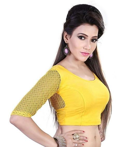 Dancing Girl Readymade Blouse Net Sarees Indian Saree Yellow Stitched Blouse Lycra K11 Yellow