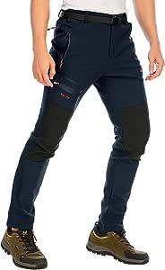 DAFENP Pantalones Trekking Hombre Impermeables Pantalones de Trabajo Termicos Montaña Senderismo Esqui Snowboard Invierno Polar Forrado Aire Libre