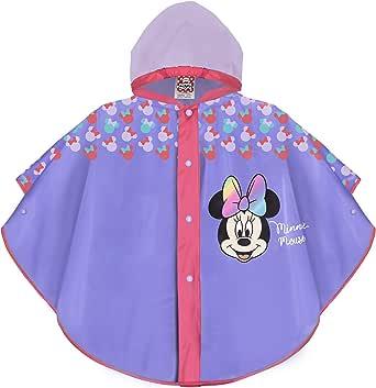 PERLETTI Chubasquero Niñas 2 3 4 5 Años Minnie Mouse - Poncho Impermeable Niña con Capucha Boton a Presión - Chaquetón para Lluvia Rojo Disney Minni - Ropa de Agua Antiviento Lunares