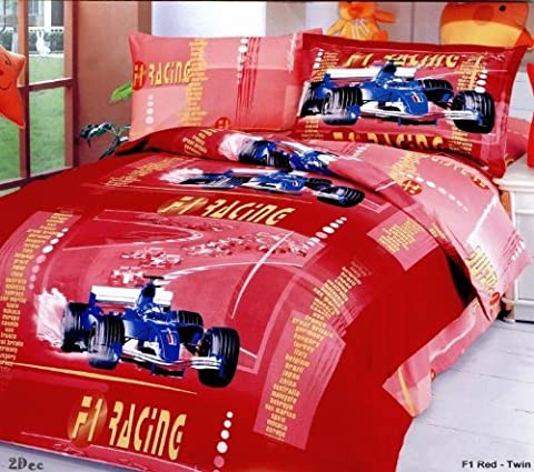 Le Vele F1 Red - Duvet Cover Bed in Bag - Twin Kids Bedding Juvenile Set - LE41T - Juvenile Bedding