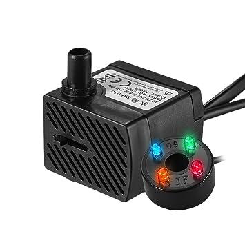 Decdeal - 180L/H 2.5W Bomba de Agua Sumergible con 4 Leds Luces Ultrasilencioso