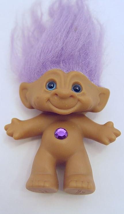 amazon com ace purple haired jeweled blue eyed treasure troll doll