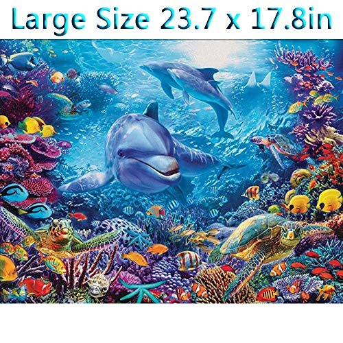 (DIY 5D Diamond Painting Kits Full Kits, Astory Rhinestone Crystal Embroidery Pictures Cross Stitch for Home Room Decoration Underwater World & Dolphin 60 x 45 cm (23.7 x 17.8inch))