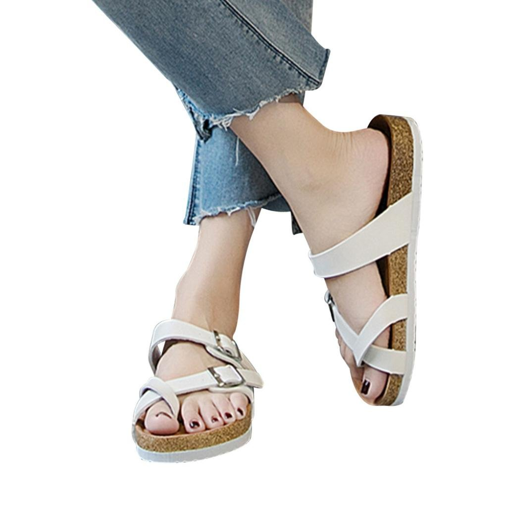 vermers Clearance Womens Cross Toe Strap Flat Sandals Summer Casual Beach Shoes Thick-Soled Cork Slippers(US:7, White) by vermers