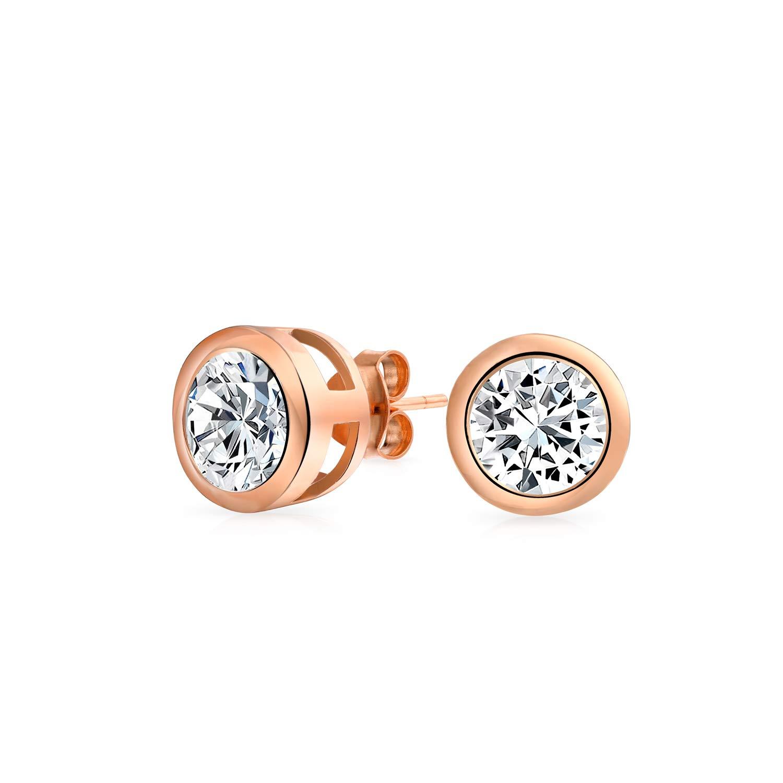 Bling Jewelry sertie CZ ronde en argent sterling plaqué Or Rose Boucles d'5mm ZDC-DT-LE0026R-5