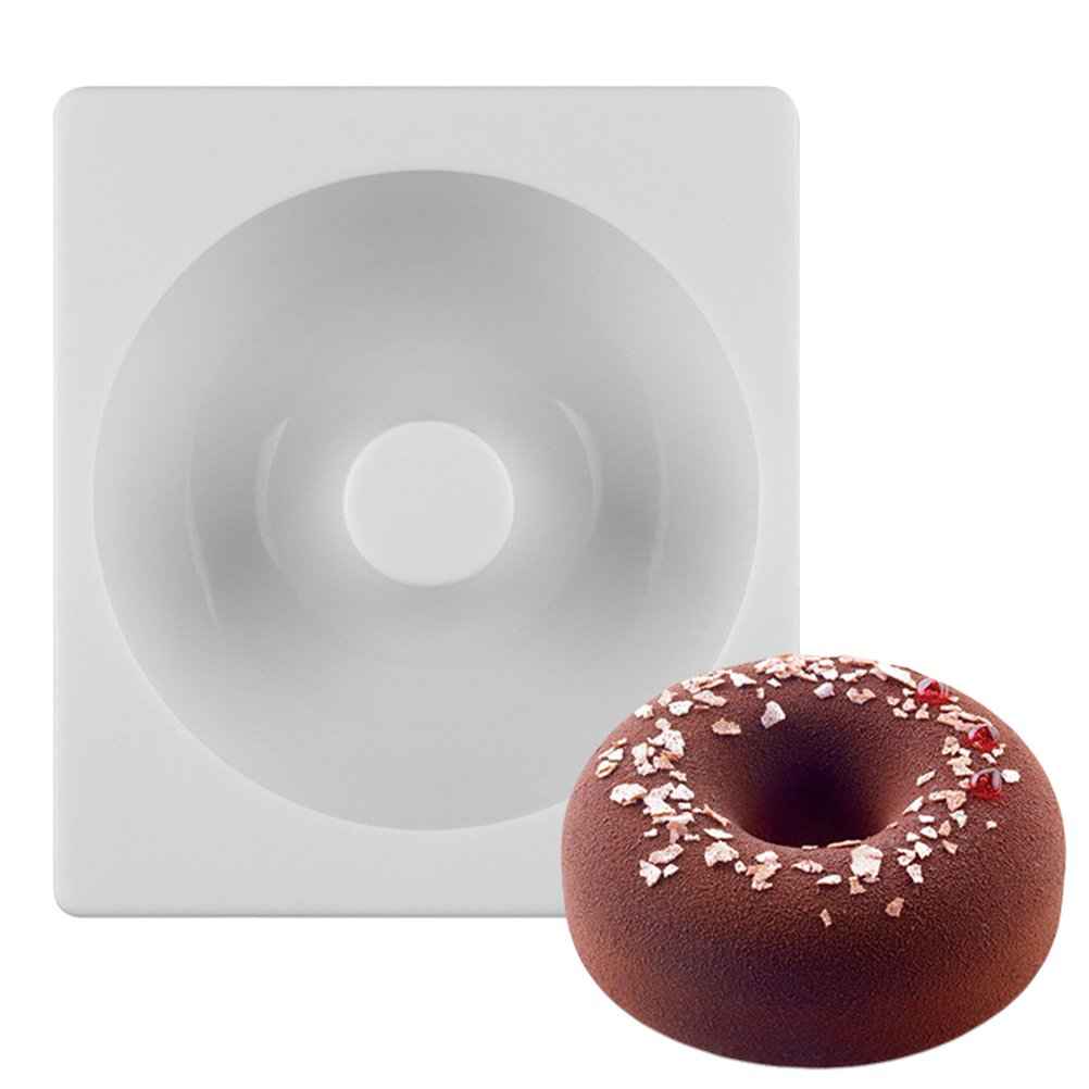 OUNONA Silicone Donuts Mold,Nonstick Donut Pans Donut Baking Pan For Oven/Microwave/Dishwasher(White)
