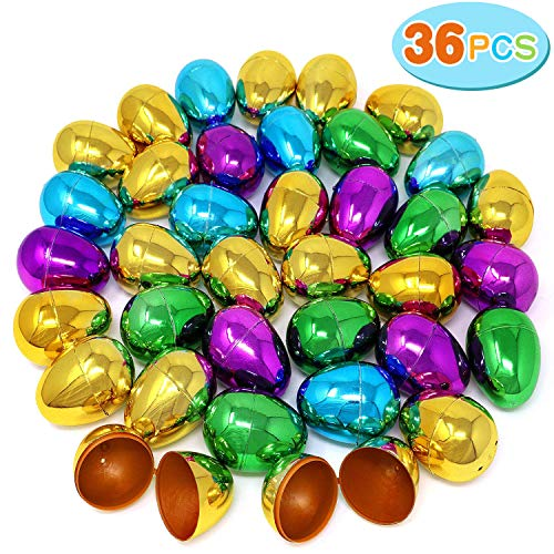 36 Pieces Golden Metallic Easter Eggs 2.3 Inches for Easter Hunt, Surprise Egg, Filling Specific Treats, Easter Theme Party Favors, Basket Stuffers Fillers, Classroom Prize Supplies ()