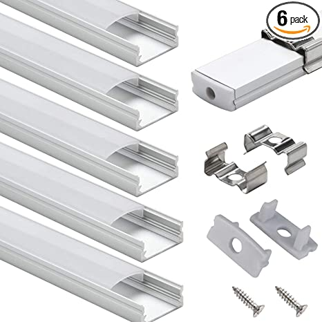 6 Pack 1m//3.3ft LED Channel and Diffuser for LED Jirvyuk Aluminum Profile Led