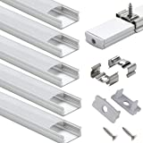 LED Aluminum Channel with Cover - StarlandLed 6-Pack 1Meter/3.3ft LED Profile and Diffusers with End Caps and Mounting Clips for LE 16.4ft LED Flexible Light Strip