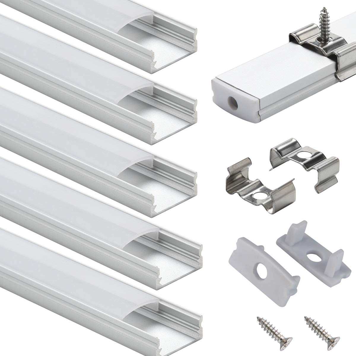LED Aluminum Channel with Cover - StarlandLed 6-Pack 1Meter/3.3ft LED Extrusions Track Diffusers Housing with End Caps and Mounting Clips for LED Flexible Strip by StarlandLed