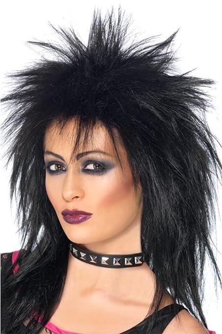 2203da787c Smiffy s Rock Diva Wig with Best Quality Bag - Black  Amazon.co.uk  Toys    Games