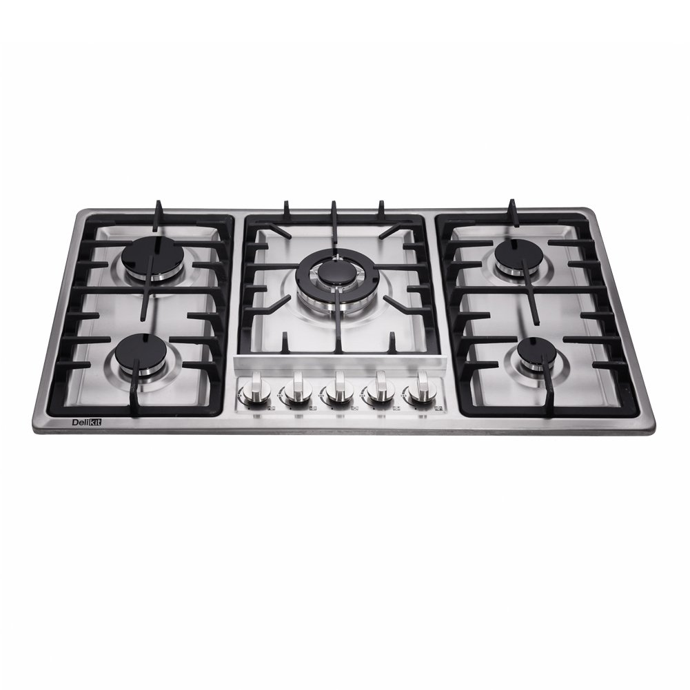 DeliKit DK258-B01 34 inch Gas Cooktops gas hob stovetop 5 burners LPG/NG Dual Fuel 5 Sealed Burners brass burner Stainless Steelr Built-In gas hob 110V AC ...