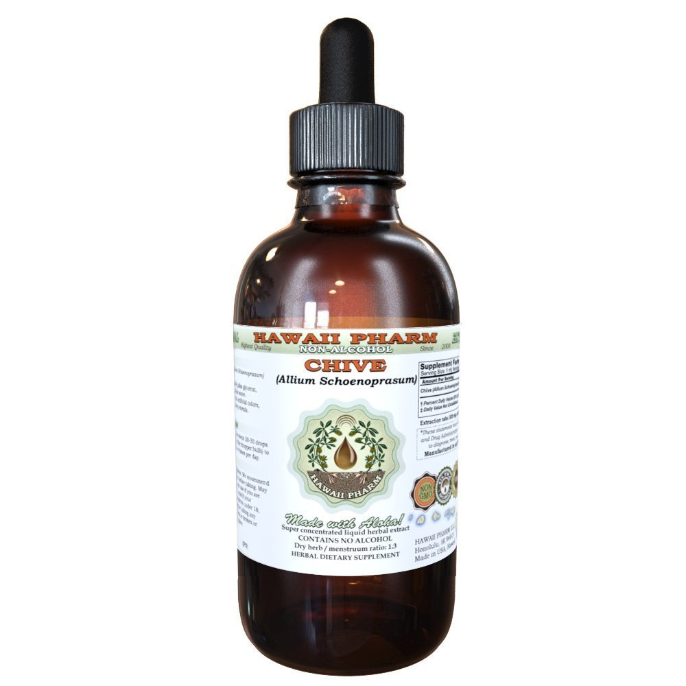 Chive Alcohol-FREE Liquid Extract, Organic Chive (Allium Schoenoprasum) Dried Rings Glycerite Hawaii Pharm Natural Herbal Supplement 2 oz