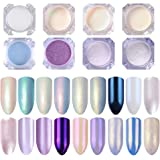 LILYCUTE Shimmer Mermaid Pearl Powder Mirror Effect Chrome Pigment Shining Shimmer Nail Glitter 8 Boxes