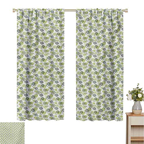 Mozenou Floral, Decorative Curtains for Living Room, Abstract Blossoms in Green Shades on Polka Dotted Retro Style Background, Waterproof Window Curtain Apple Green Sage Green