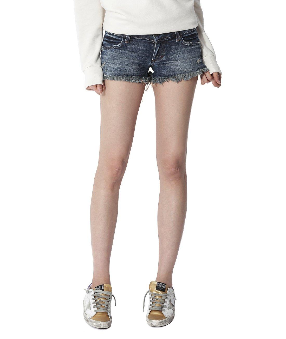 Wiberlux Siwy Women's Vintage Frayed Hem Denim Shorts 26 Blue