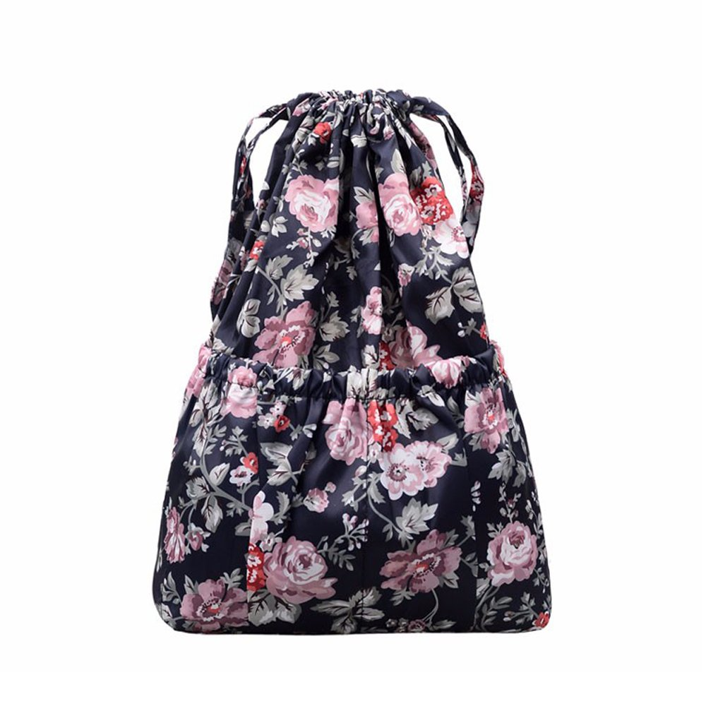 Drawstring Backpack Original Tote Bags for Women Girls Travel Shopping Rucksack Shoulder Gym bags (L size Flower-1)