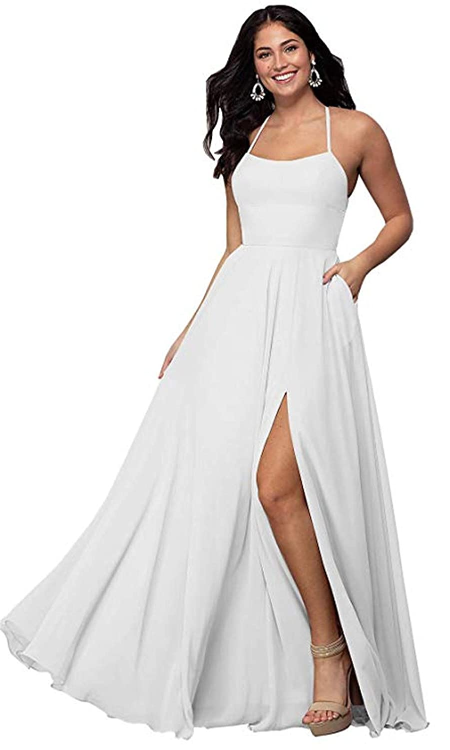 White Halter A Line Long Bridesmaid Dresses Split Prom Evening Gowns with Pocket