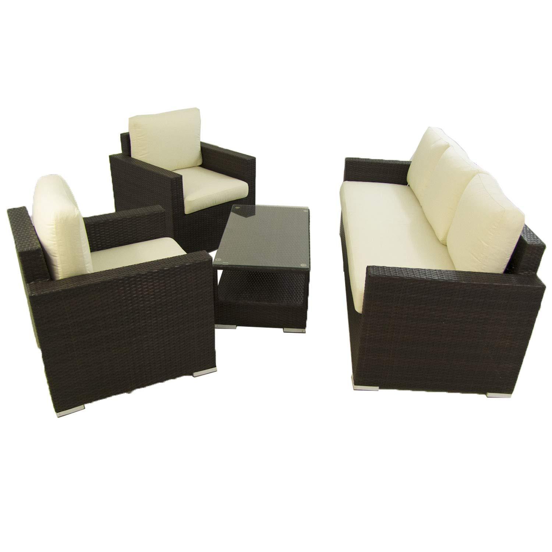 Conjunto sofá para jardín Lisbon 8 - Hevea, 5 plazas, Sofá 3 ...