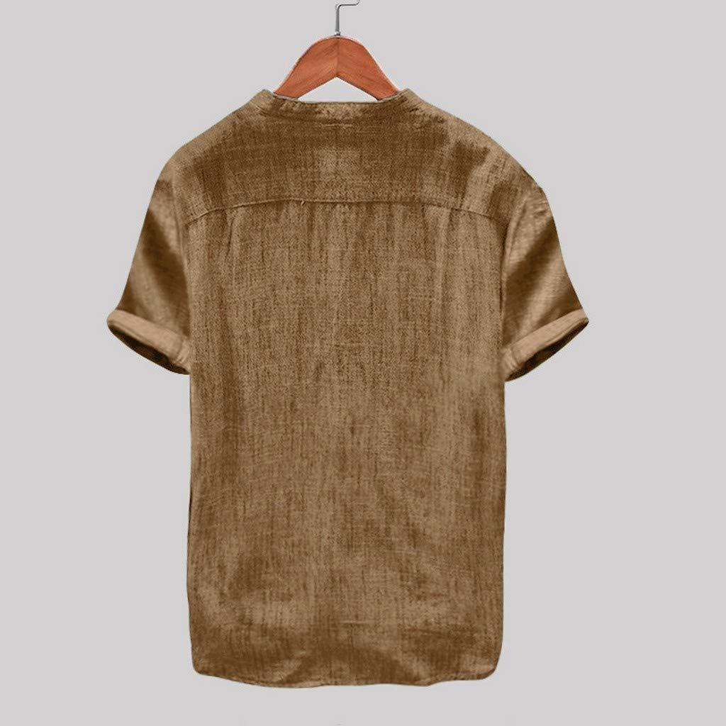 T-Shirt A Manica Lunga Uomo alla Moda Camicia Elegante Slim Fit in Cotone A Maniche Lunghe in Lino Tinta Unita Scont Estate