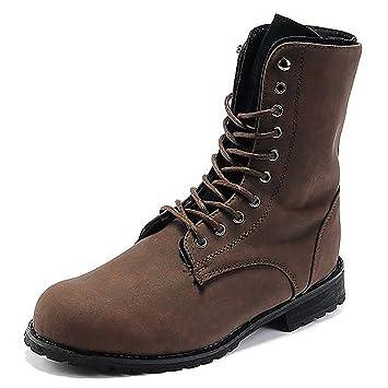0ac9f9c80de9 Männer Hoch-Kampf-Stiefel schnüren sich Lederschuhe mit Verpackung-  braun,-Größe