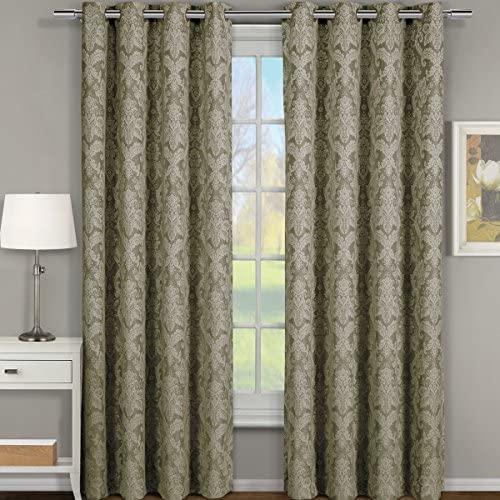 Pair of Two Window Panels, Elegant and Contemporary Jacquard Blair Grommet Top Draperies. Set of Two Sage54 Width by 120 Length Panels 108 W by 120 L Pair