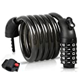 BIGLUFU Bike Lock Cable Scooter Bicycle Motorcycle Chain Locks, 5-Digit Combiantions, 4FT / 120cm Long, Heavy Duty Cables Res