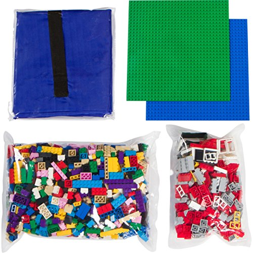 Building Bricks - 1324 Piece Bulk Blocks - Includes 2 Baseplates and Easy Cleanup Drawsting Play Mat- Tight Fit with Major Brands