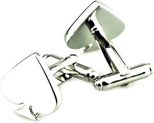 AmDxD Gemelos de Cobre para Hombres Plata Póker Corazón Gemelos Camisa Gemelos Hombre Boda 1.8CM: Amazon.es: Joyería