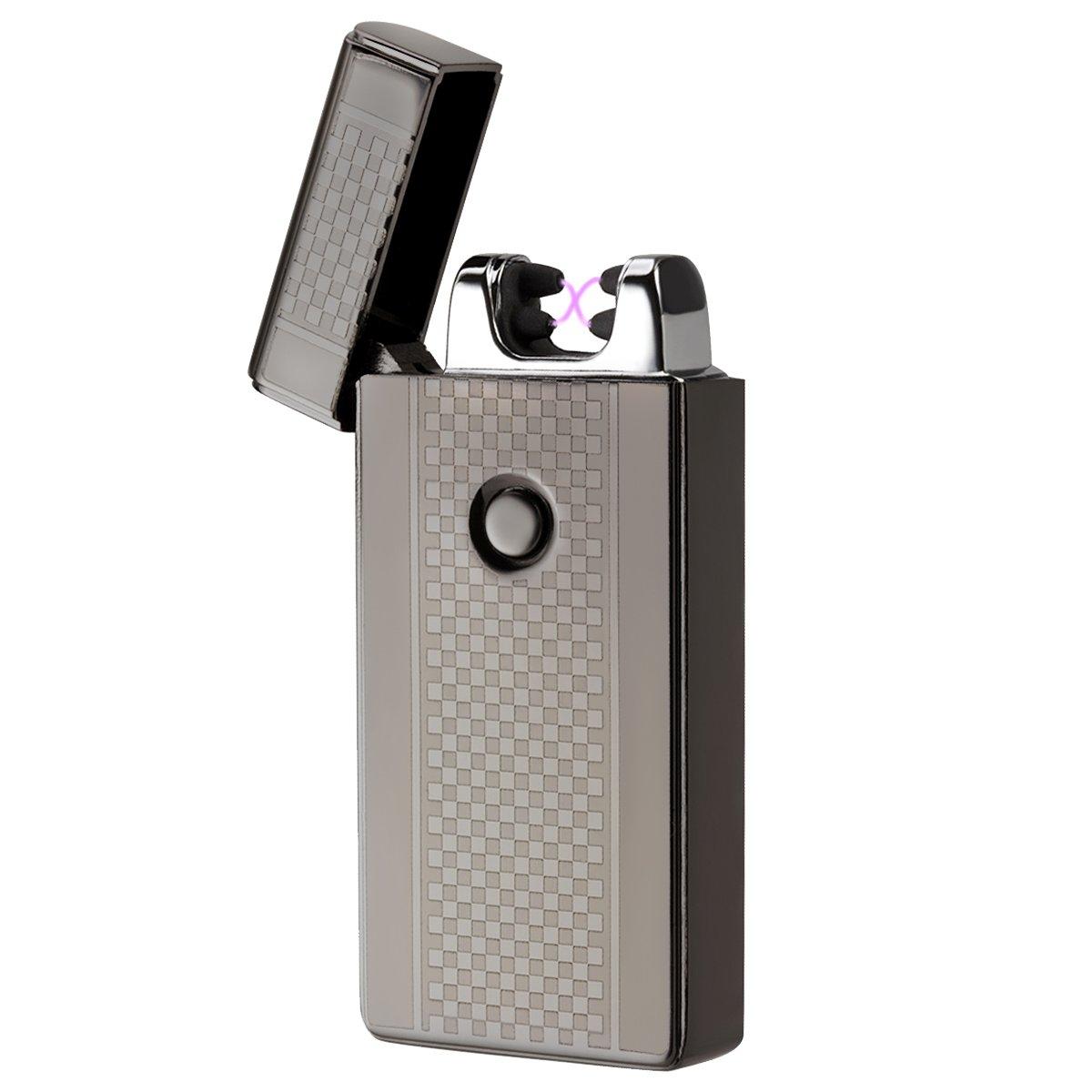 AKUNSZ Mechero Eléctrico, USB Encendedor Doble Arco Eléctricos (Más Avanzado)  Carga Rápida de