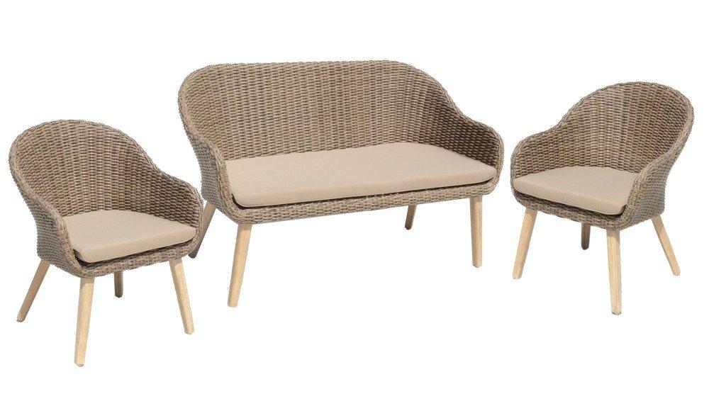 3tlg garten sofa stuhl set kissen lounge sitzgruppe m bel akazie rattan optik jetzt kaufen. Black Bedroom Furniture Sets. Home Design Ideas