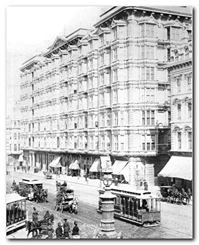 Francisco San Palace Hotel - Vintage San Francisco Palace Hotel 1889 Old City Wall Decor Black And White Art Print Poster (16x20)