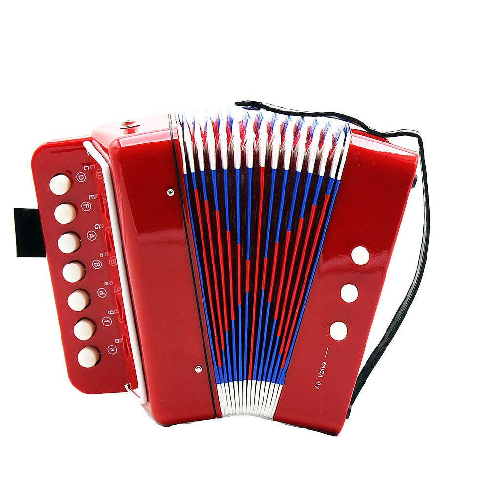 EDTara Kids Accordion,7-Key 2 Bass Mini Small Accordion Toy Early Educational Musical Instrument Rhythm Band Toy General